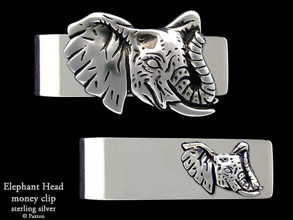 Elephant Head Money Clip in Solid Sterling Silver Hand Carved, Cast & Fabricated by Paxton