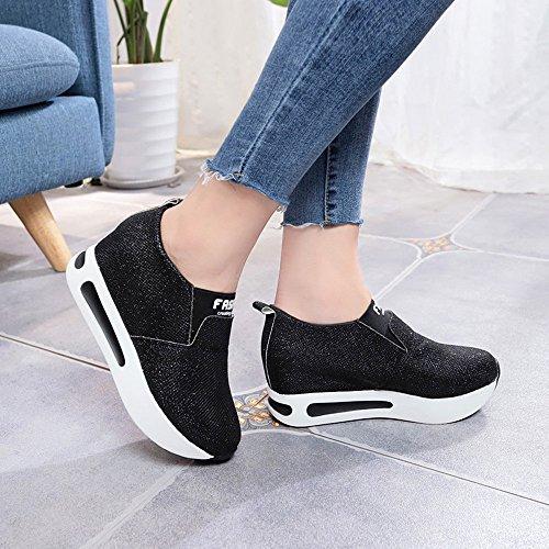 Negro On Zapatillas para Cordones Bajas De CóModo Botines OHQ Informal Correr Slip Planos Mujer con Zapatillas con Planas Zapatillas Plataforma q1vwH4