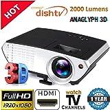 Myra® M803 LED HD Projector 2200 Lumens, HDMI USB VGA AV, 150 Inch, Home Cinema Projector, Support Anaglyph 3D