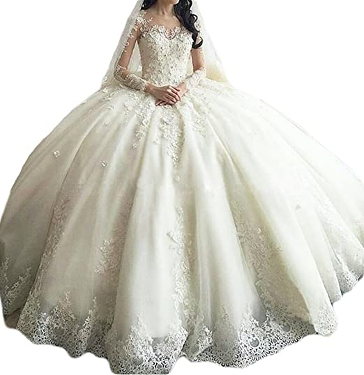 5bebe63856 Jewelrystore Women s Long Sleeve Lace Ball Gown Wedding Dresses Cathedral  Train  Amazon.co.uk  Clothing
