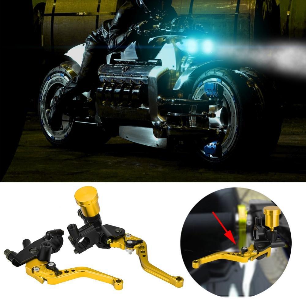 Amarillo KIMISS 1 par de 22mm hidr/áulica Bomba de Freno /& Embrague Ajustable de la Motocicleta del CNC Palanca del Cilindro de Freno