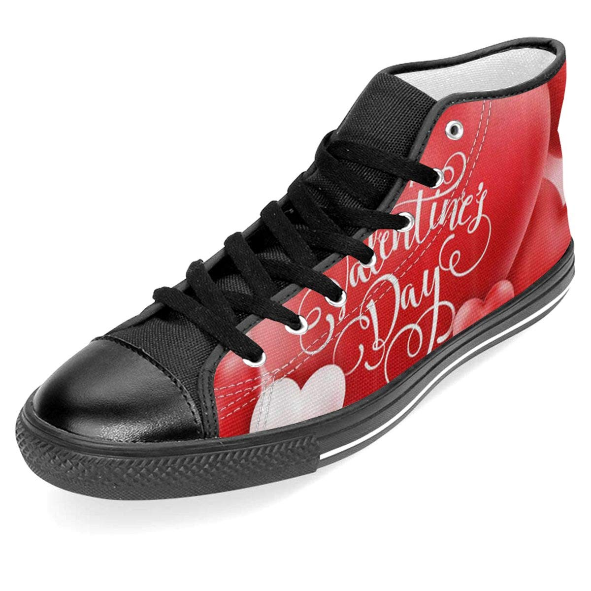 JIFHS Romantic Heart Shaped Balloon Womens Casual High Top Canvas Shoes