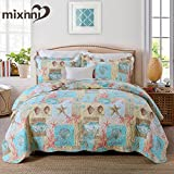 mixinni King Size Quilts and Comforters Sets (1 Quilt and 2 Pillow Sham)-Beach Theme Starfish Coral Pattern Printed Soft Cotton Bedding Set Bedspreads