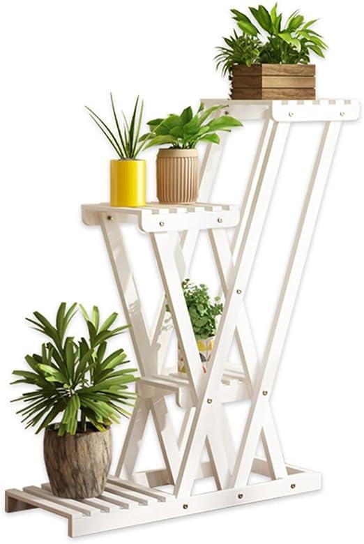 JUN-Estantería de flores Estante de Flores Escalera de Madera 4 estantes, Estantes de Jardinería Soporte de Estante de Esquina de Almacenamiento para la Sala de Estar Interior o al Aire Libre: Amazon.es: