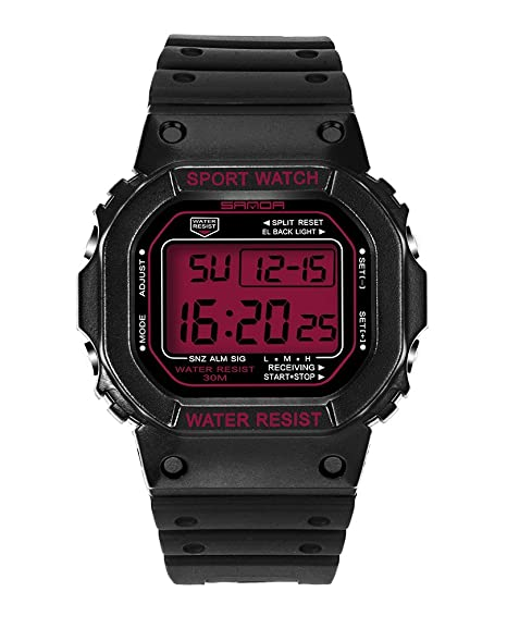 Digital cronómetro FECHA y día deporte reloj jóvenes Casual par relojes niñas negro + rojo: Amazon.es: Relojes