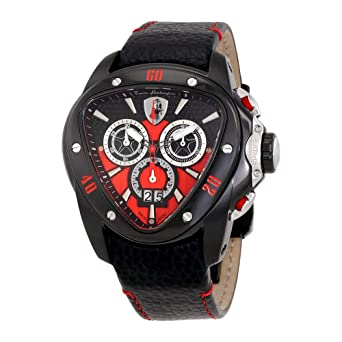 Amazon Com Lamborghini Spyder 1101 Chronograph Black And Red Dial