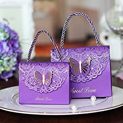 WPPOWER Purple Box Laser Cut Wedding Favor Boxes for Baby Shower Decor Kid's Birthday Party Cookie Gift Boxes for Guest with Butterfly Decorations(Pack of 10) (Purple, L)