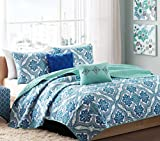 Boho Chic Teen Girls Blue Green Full Queen Quilt Medallion Damask Coverlet Set + 2 Shams + 2 Gorgeous Throw Pillows + HS Sleep Mask Quilts Bedspread Bedding Sets For Girl Kids Teens