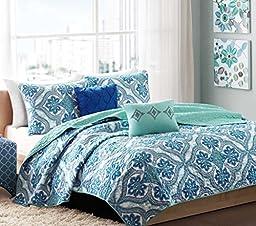 Boho Chic Teen Girls Blue Green Full Queen Quilt Medallion Damask Quilt Set + 2 Shams + 2 Gorgeous Throw Pillows + HS Sleep Mask Quilts Bedspread Bedding Sets For Girl Kids Teens (Full / Queen BLUE)