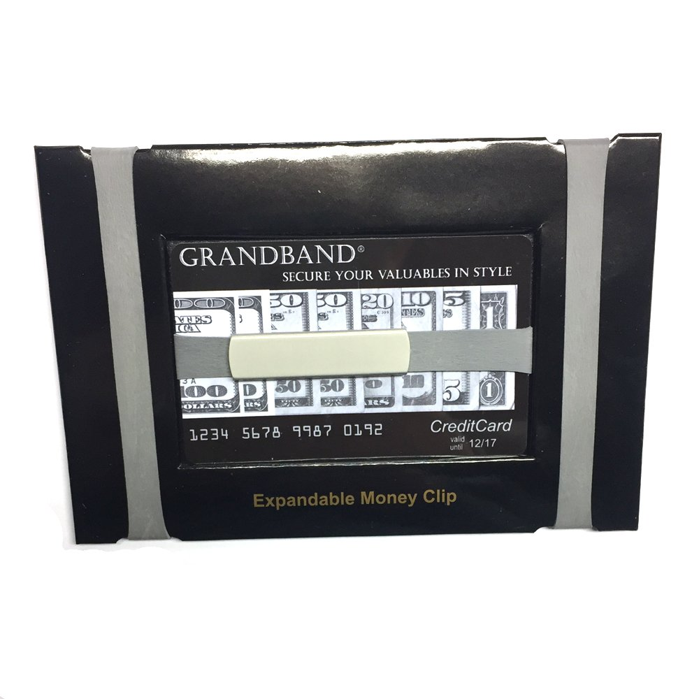 GRAND BAND Money Band, Choice Of Lux Black Rectangle Annodized Aluminum Or Stainless Steel Plaque Money Band Free Engraving