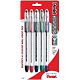 Pentel R.S.V.P. Ballpoint Pens, Fine Point, 0.7 mm, Clear Barrel, Assorted Ink Colors, Pack of 5