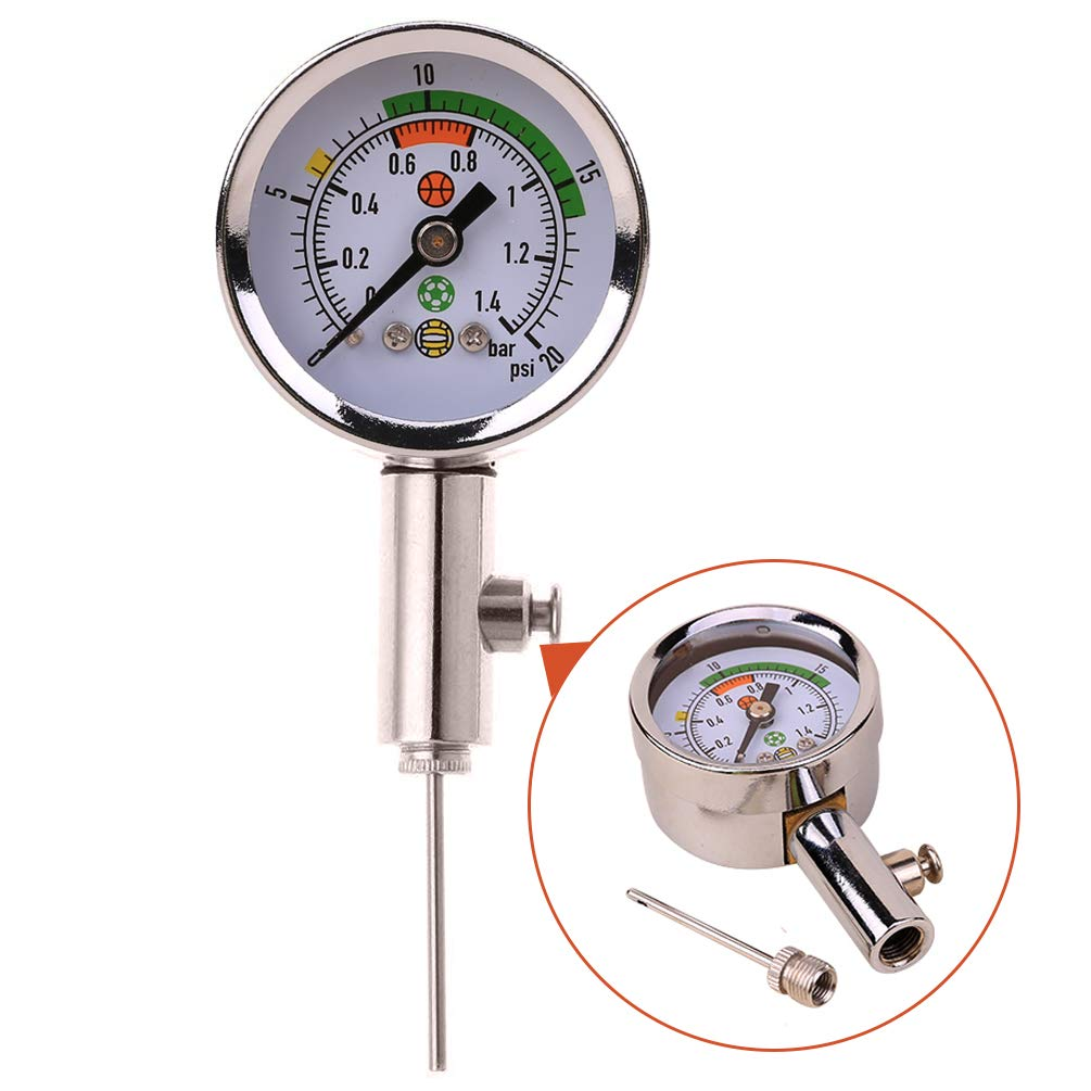 Wrzbest Ball Air Pressure Gauge Heavy Duty Metal Made Air Watch Test and Adjust The Pressure for Football Soccer Rugby Basketball Volleyball, Etc