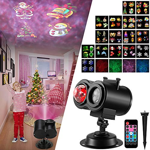 Led Halloween Christmas Projector Lights, 2 in 1 Ocean Wave Projector Light with 16 Slides Patterns Waterproof Outdoor Indoor Holiday Projector Lights for Xmas Home Birthday Party