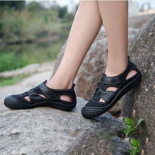 de Sandalias para de Black Playa Sandalias Deportes Ocio Exterior de Cuero para Zapatillas y Respirables Verano para Antideslizantes Aptas de Pescador Hombres Interior ExBIBdYw