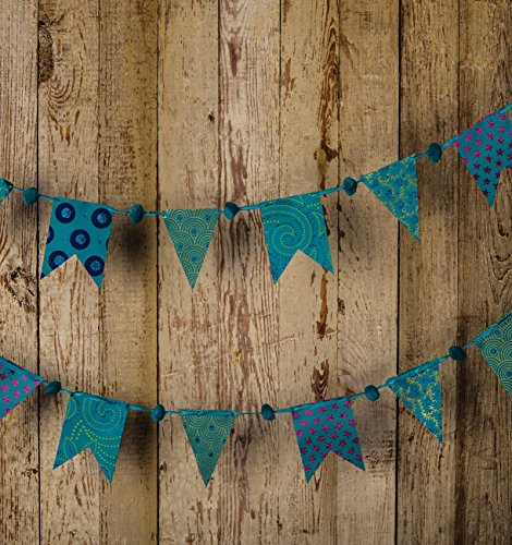 Blue Paper Small Pennant and Flag Banner