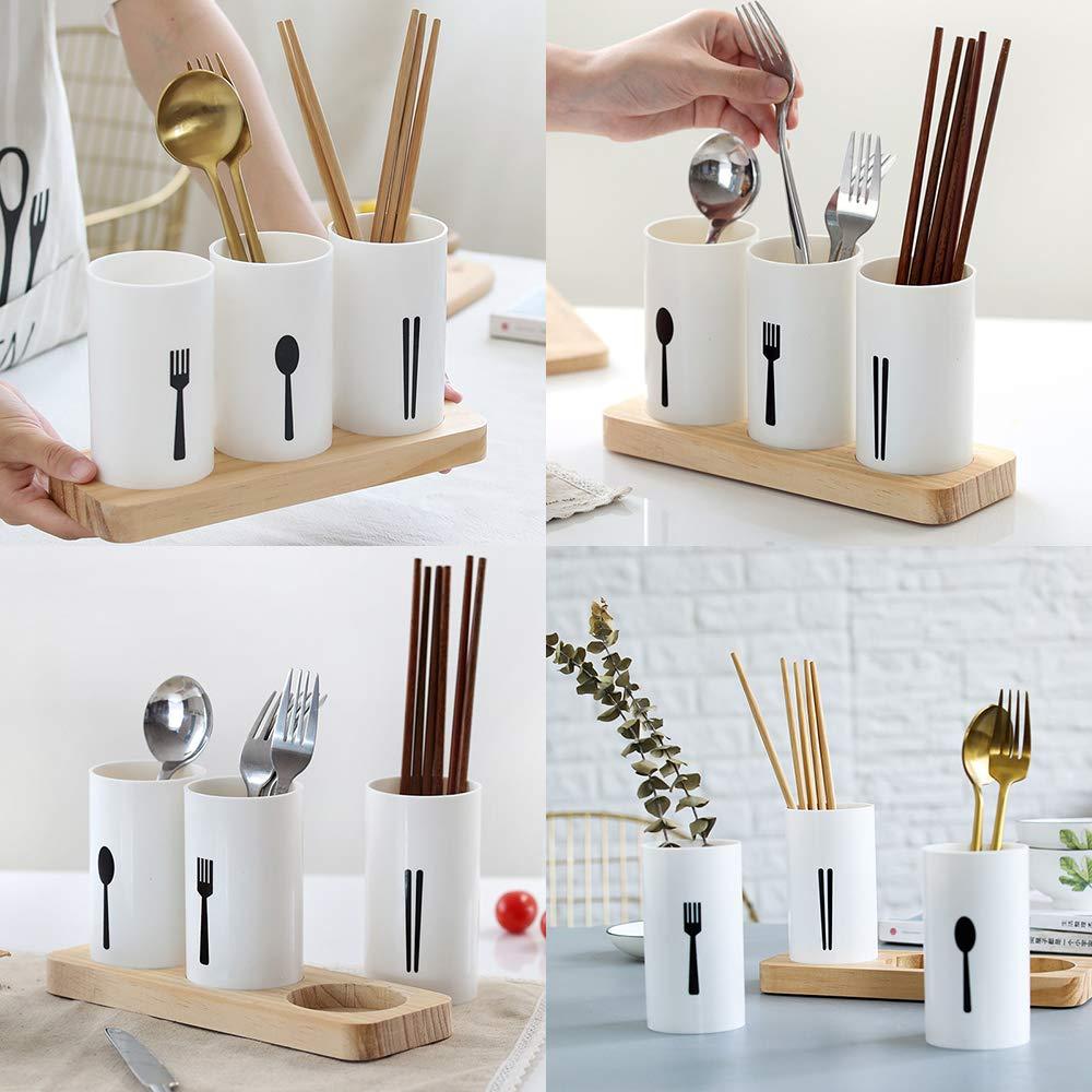 MyLifeUNIT Kitchen Utensil Caddy Flatware Organizer with Wood Base