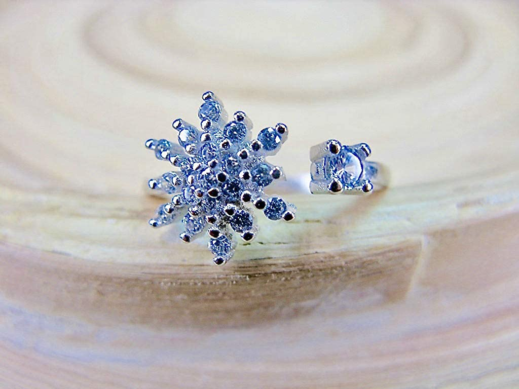 FaithOwl Snowflake Flower Crystal Ring 925 Sterling Silver