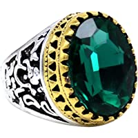 Indi Creation Green Oval Crystal Statement Ring for Men Boys