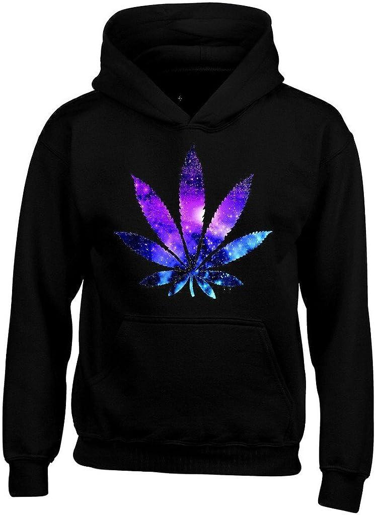 Shop4Ever ® Hoja de Marihuana Galaxy Sudaderas con Capucha Weed los Fumadores Sudaderas con Capucha