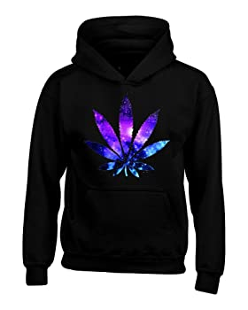 Marijuana Leaf Galaxy Print Hoodies