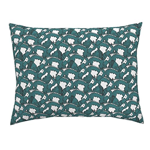 Roostery Horse Standard Knife Edge Pillow Sham Painted Horses by Pond Ripple Natural Cotton Sateen made by