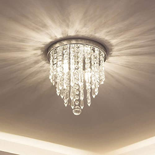 lifeholder Mini Chandelier, Crystal Chandelier Lighting, 2 Lights, Flush Mount Ceiling Light, H10.4 x W8.66 Modern Chandelier Lighting Fixture for Bedroom, Hallway, Bar, Kitchen, Bathroom