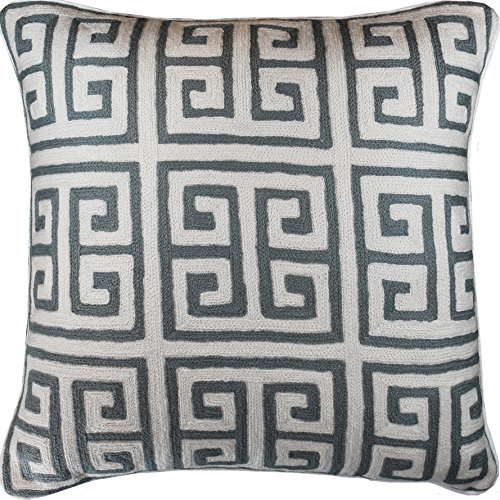 Greek Embroidered Key Pillow - Kashmir Designs Greek Key Geometric Ivory Gray Accent Pillow Cover Handembroidered Wool 20x20