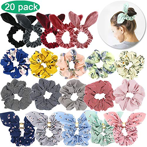 Hair Scrunchies for Women, WEST BAY 20Pcs Scrunchies for Hair Velvet Silk Satin Chiffon Hair Scarves Elastic Ties Bands Ropes Cute Bunny Ear Red Pink Gold Sliver Yellow Ponytail Holder for Women Girl
