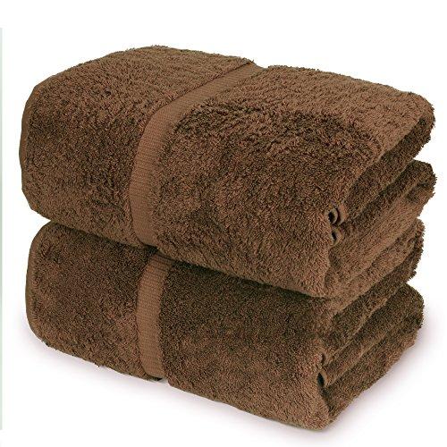 Towel Bazaar 100% Turkish Cotton Bath Sheets, 700 GSM, 35 x 70 Inch, Eco-Friendly (2 Pack, Cocoa)