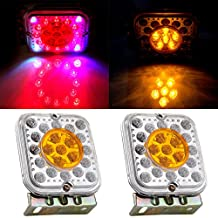 CCIYU 2 Pack Trailer Truck Square Colorful LED Stop Turn Brake Tail Light Mount Universal