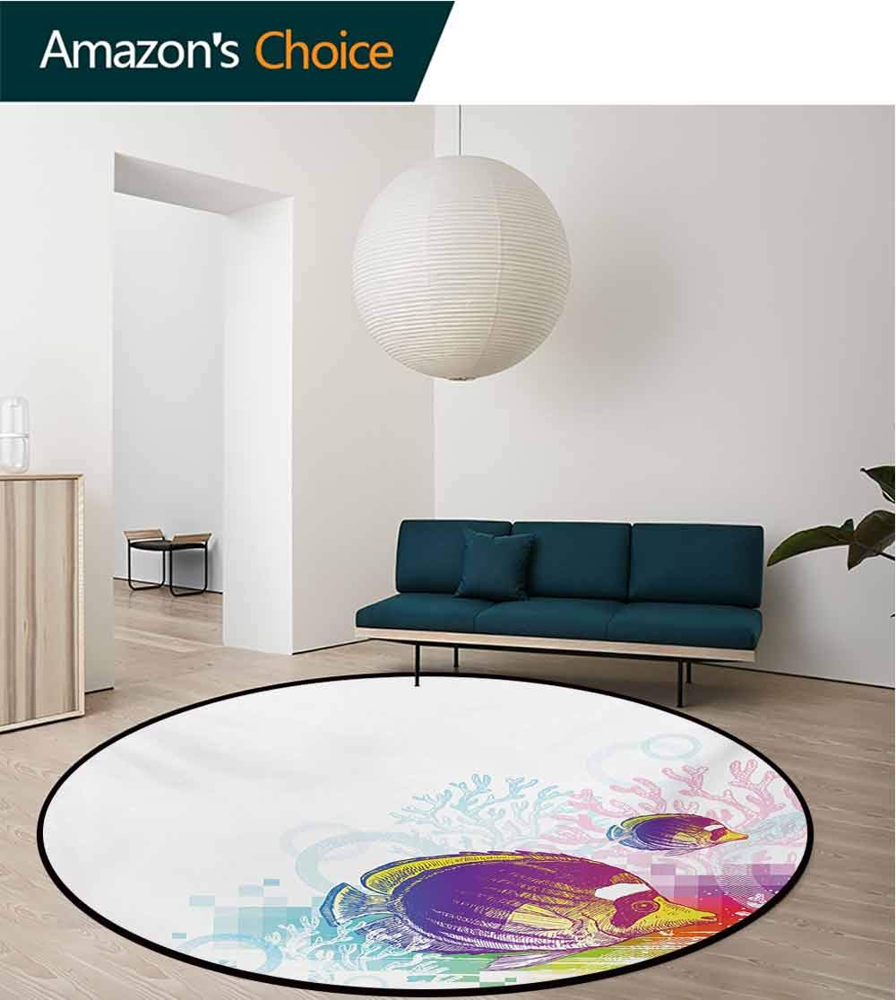 RUGSMAT Tropical Animals Super Soft Circle Rugs for Girls,Colorful Squids Surrounded by Algae Swimming in Ocean Pixel Featured Exotic Sea Baby Room Decor Round Carpets,Diameter-55 Inch