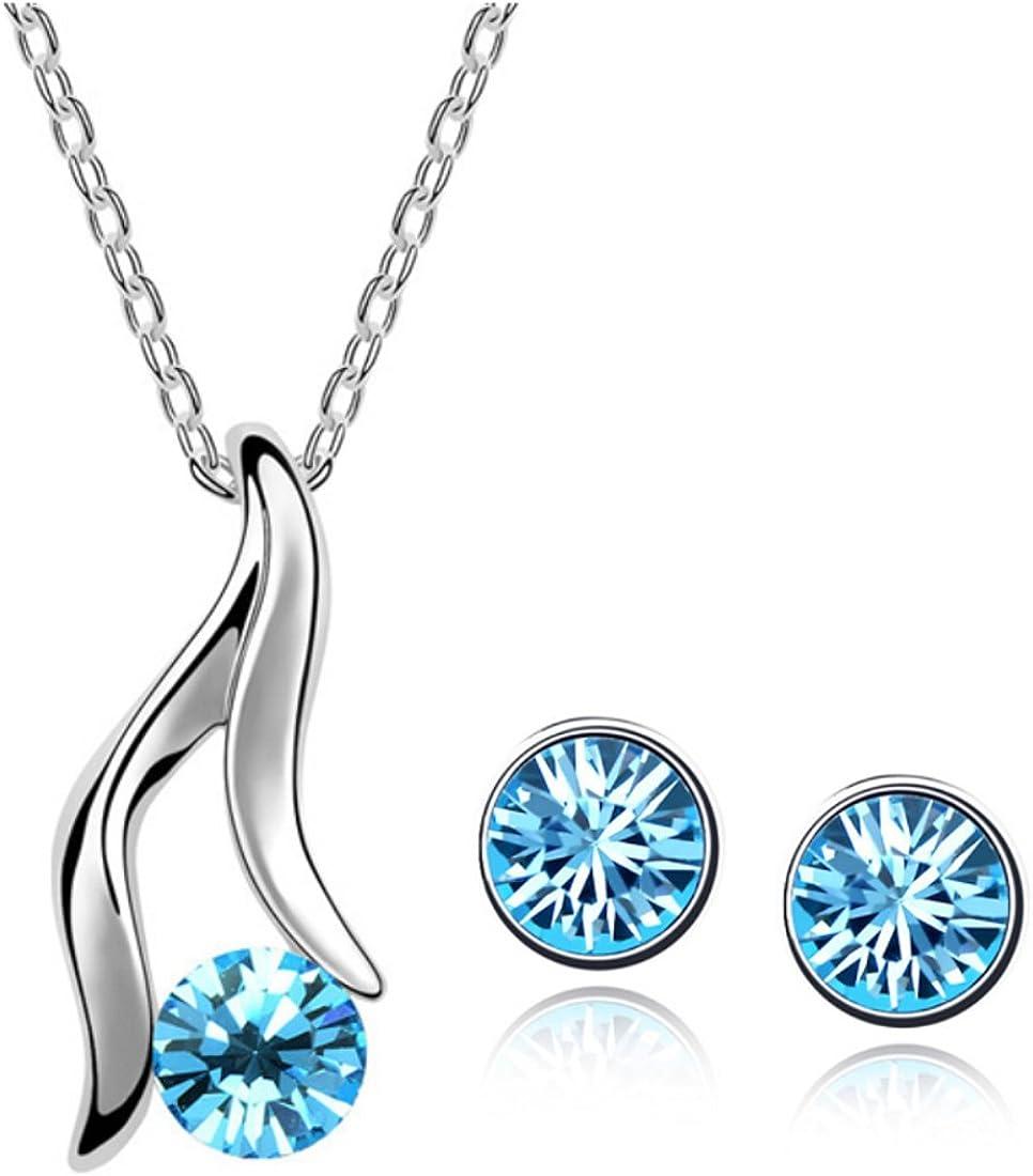 PRESKIN joyería de Plata con Piedras Preciosas Azules Turquesa   Collar + Pendientes   Cristal Brillante Colgante de Cadena Fina con los Pendientes emparejados   Turquesa, Azul Cristal Verde Azulado