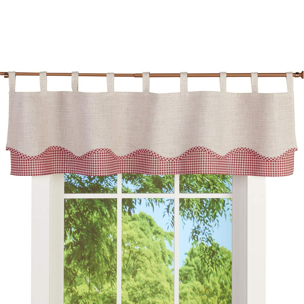 Collections Etc Gingham and Burlap Tab Top Window Valance Curtain - Checkered Country Décor for Any Room in Home, Burgundy