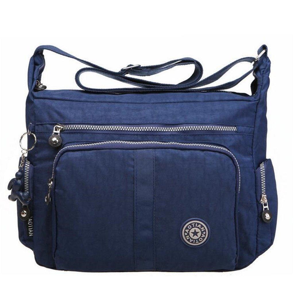 Bagtopia Large Capacity Women's Casual Shoulder Bags Waterproof Multi Pockets Nylon Cross Body Handbags Blue