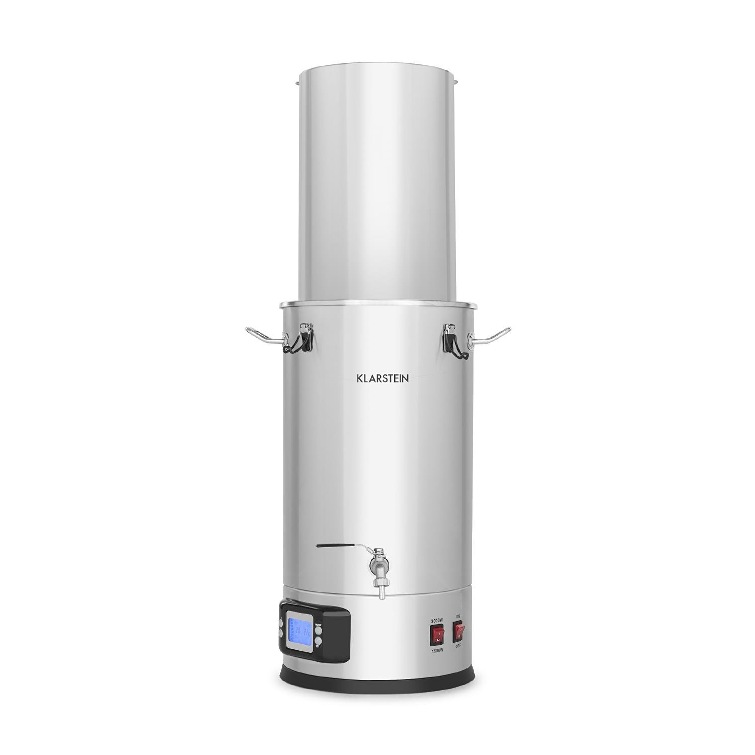 Klarstein Maischfest • Beer Brewing Device • Mash Tun • 5-Piece Set • 1500 and 3000 Watts Power • 25-litre Capacity • LCD Display and Touch Control Panel • Temperature • Stainless Steel