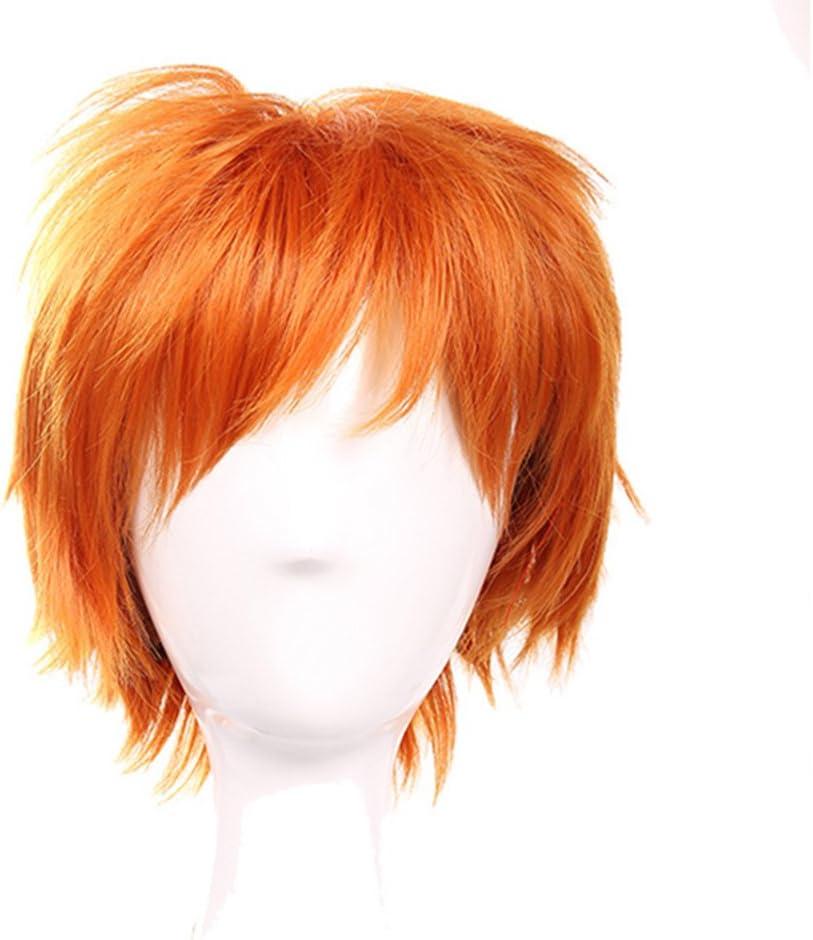 Elailite Parrucca Corta Arancione Donna Uomo Parrucche Sintetiche Cosplay Capelli Finti Wig con Frangia per Carnevale Cosplay Halloween