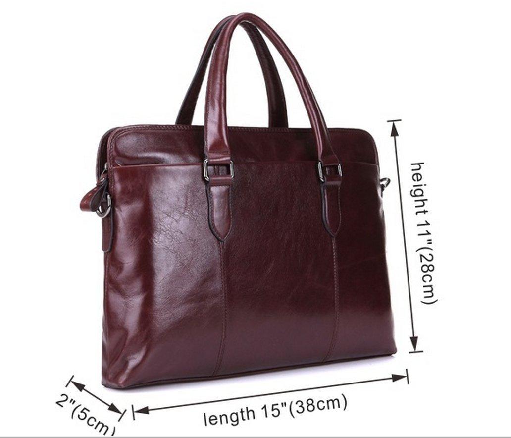 UBaymax Mens Brown Genuine Leather Tote 15 Inch Laptop Office Briefcases Casual Handbag Shoulder Bag