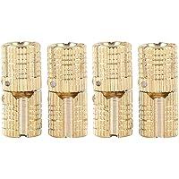 4 piezas / paquete de latón oculto - Bisagra barril Bisagra de cobre oculta invisible Gabinete muebles Bisagras para DIY Puerta de madera Cajas de regalo Caja de joyería Artesanía Mano Oro, 180 ° de a