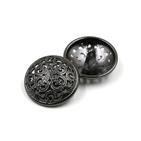 10Pcs Botón de Ropa - Botón de Costura Hueco Retro Botón de Metal en Forma de Mango Redondo para Hombre Mujer Chaqueta, Abrigo, Uniforme, Camisa, ...