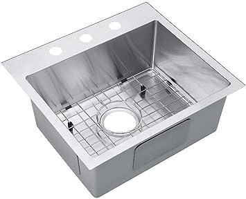 Starstar 19 Inch Top Mount Drop In 304 Stainless Steel Single Bowl Kitchen Sink W Accessories Amazon Com