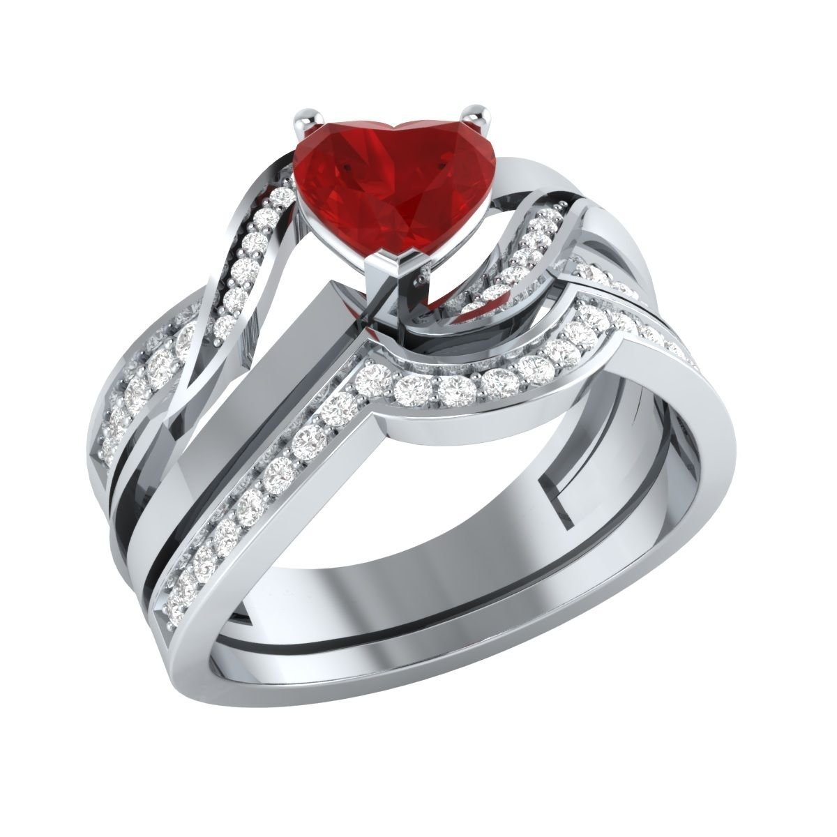 Lovely 1.03 ct Heart & Round Cut Created Red Ruby & White Sapphire 14K White Gold Plated Engagement Wedding Bridal Ring Set .925 Sterling Silver