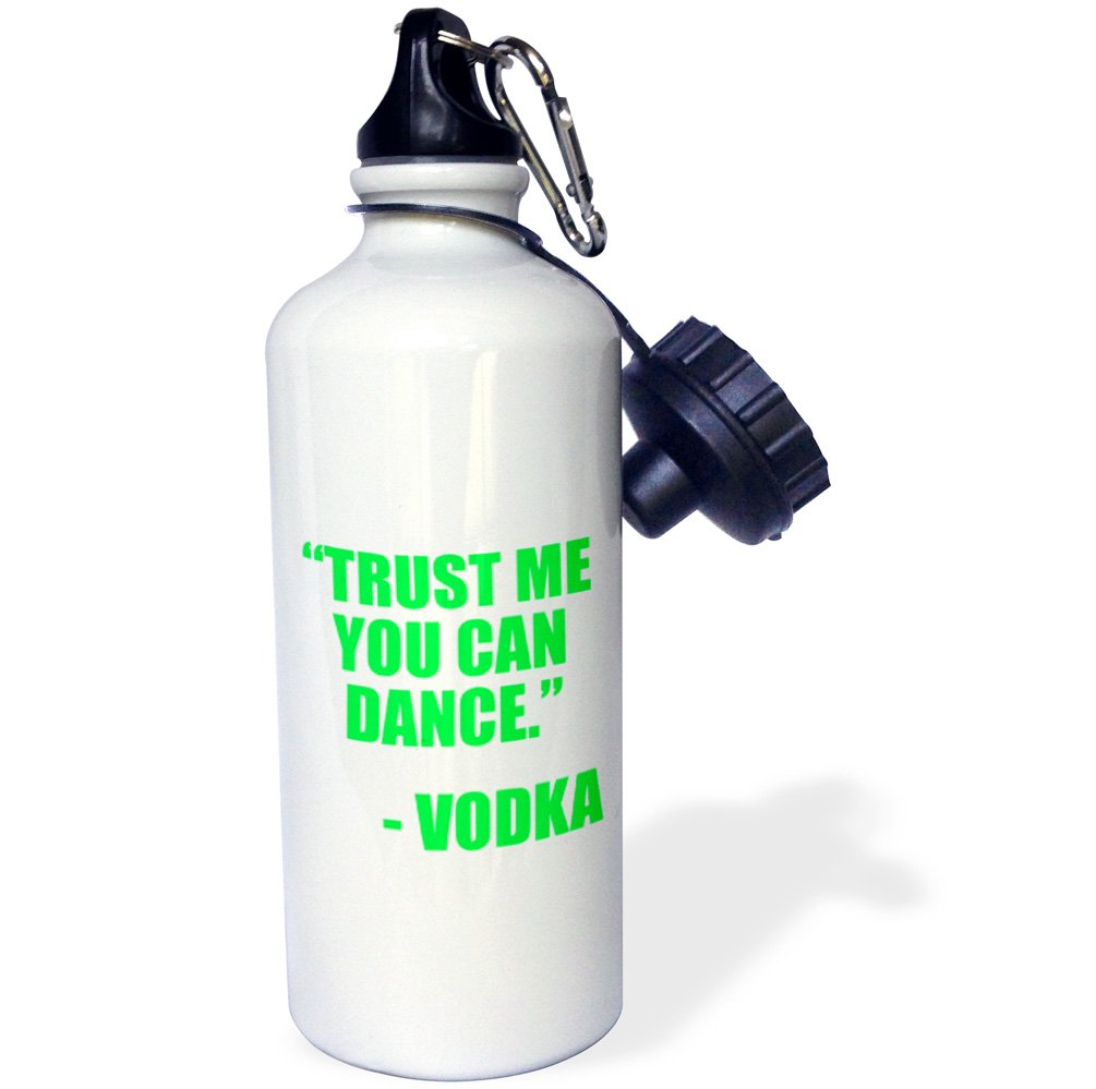 3dRose wb_163890_1''Trust me you Can Dance Vodka Lime green Sports'' Water Bottle, 21 oz, Natural