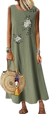 CORAFRITZ Vestido largo casual sin mangas para mujer con bolsillos