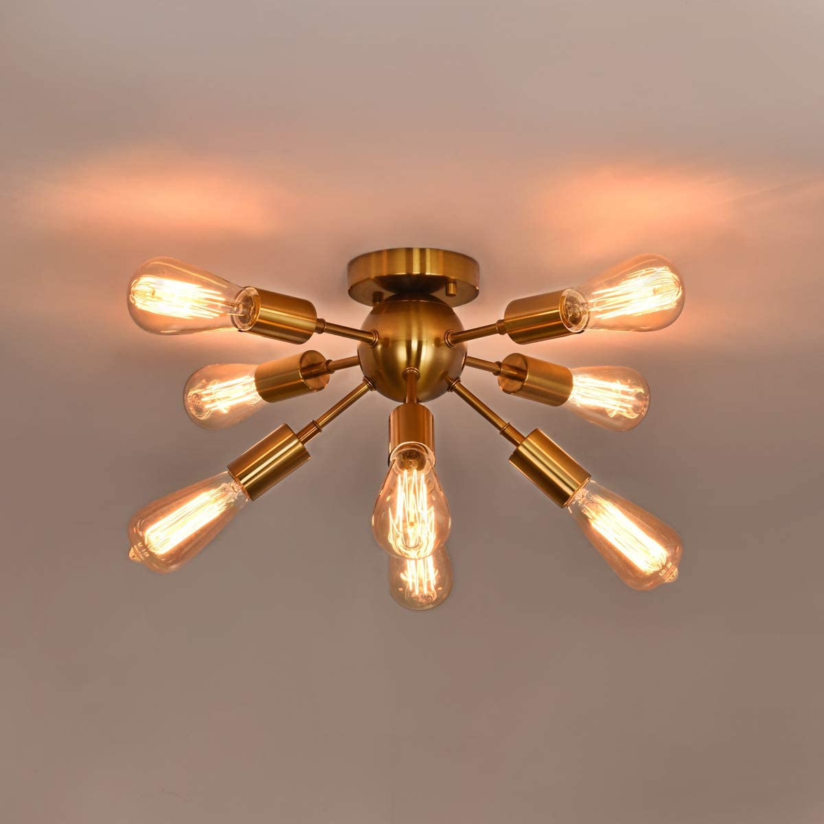 Benny Lighting Modern Sputnik Chandeliers 8-Light,Brushed Brass Industrial Semi Flush Mount Ceiling Light, Gold Mid-Century Light Fixtures for Bedroom Dinner Room