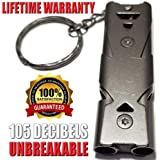 Emergency Whistle | EDC Whistle | Very Loud Survival Whistle | Low Air Flow Needed | 105 Decibels With less Effort | One Piece | Charcoal Gray Titanium