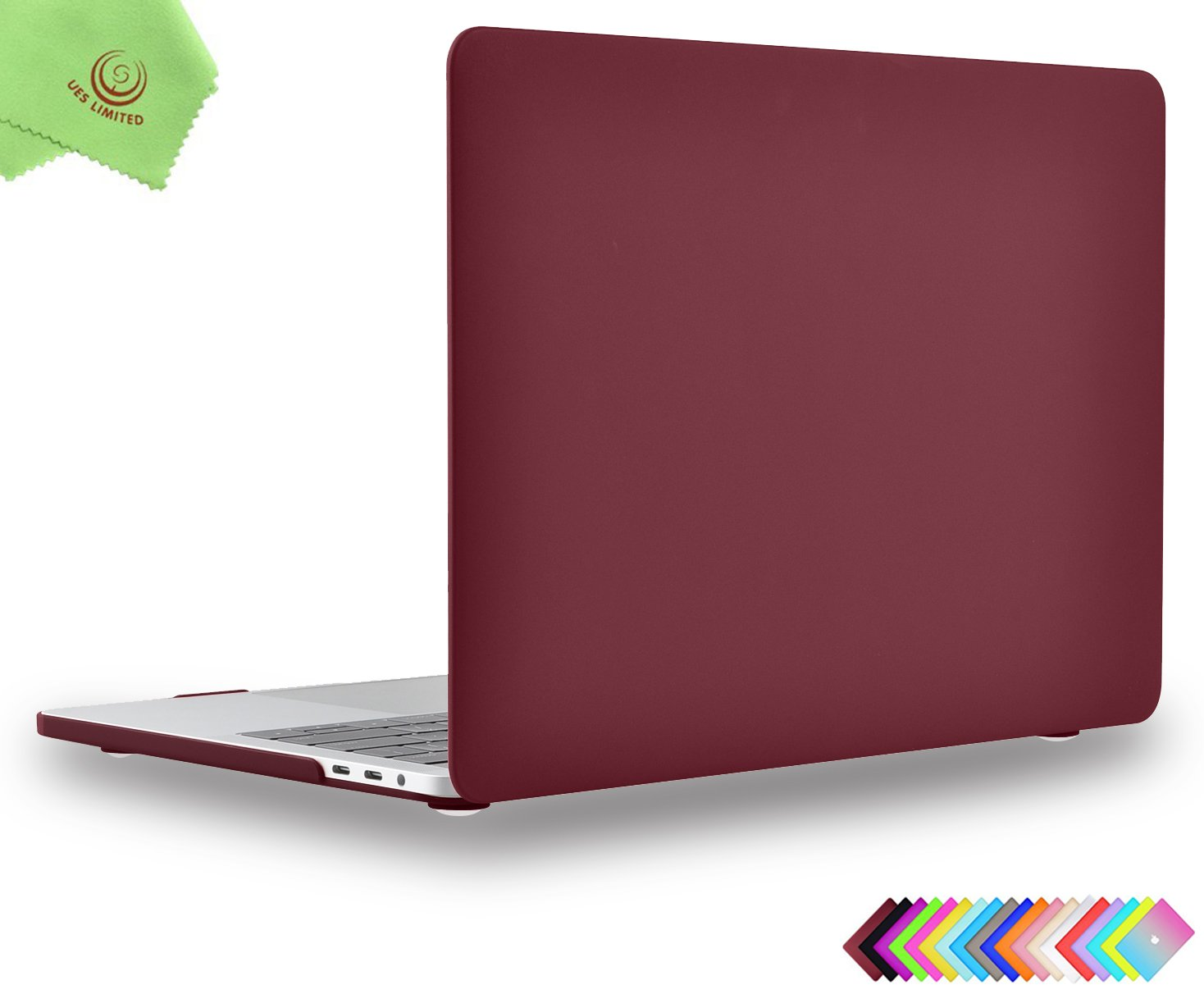 UESWILL MacBook Pro 15 inch Case 2018 /& 2017 /& 2016 Smooth Soft-Touch Hard Case for MacBook Pro 15 with Touch Bar//Touch ID Wine Red + Microfibre Cleaning Cloth Model: A1990// A1707