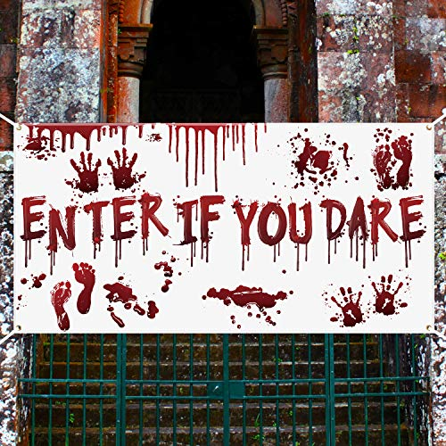 Halloween Decorations Outside Photos (Aneco Halloween Scary Bloody Banner Outdoor Enter If You Dare Banner Decoration Halloween Party Bloody Photo Booth Backdrop Background Banner for Halloween Party Supplies, 70.8 x 35.4)