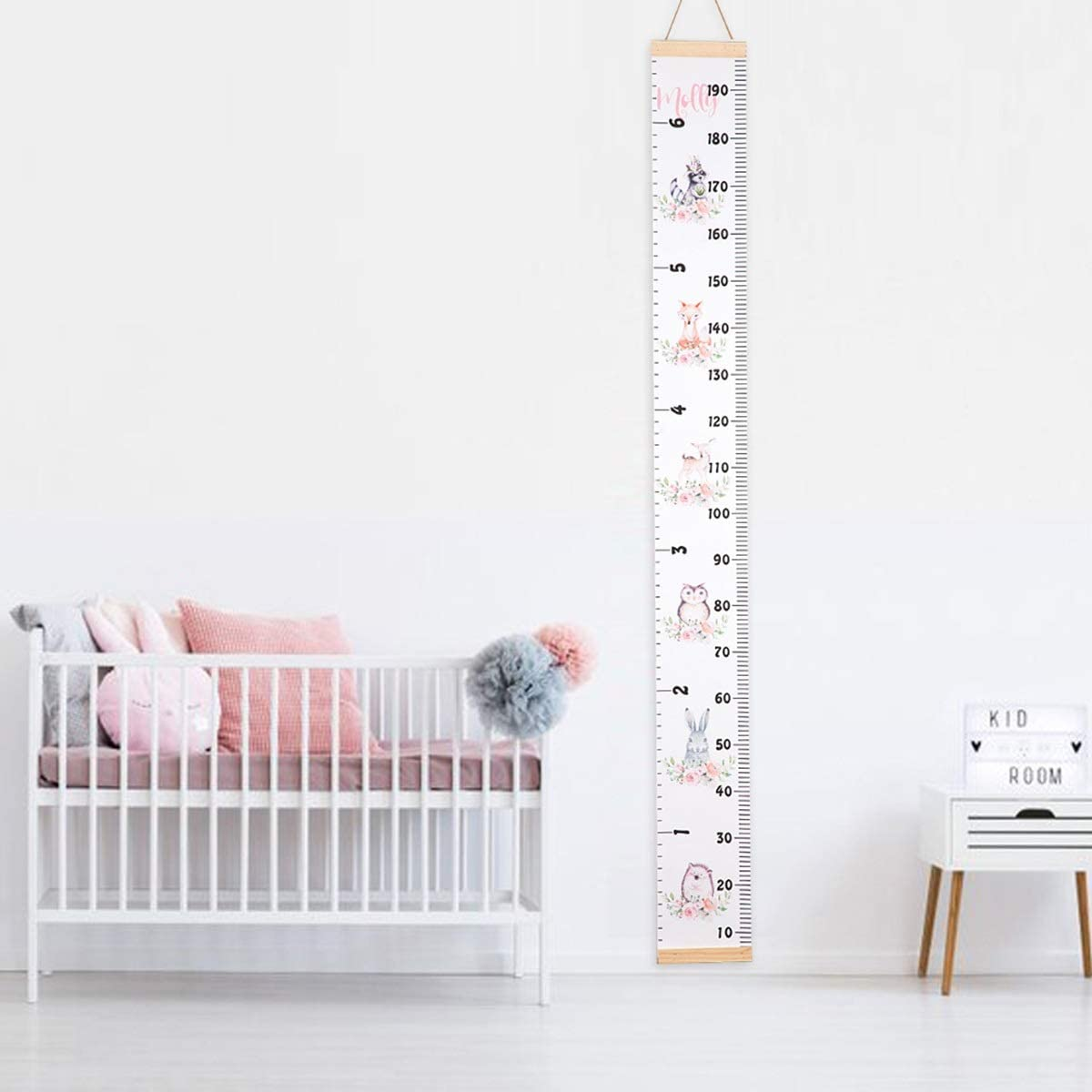 Waterproof Wood and Canvas Height Ruler Wall Ruler Cartoon Animal Print Baby Growth Chart Wall Decor for Kids Boys Girls Color B