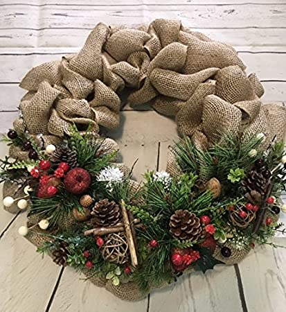 christmas wreath door hanging xmas winter decor handmade 18 burlap pine tree modern design - Burlap Christmas Wreath
