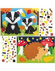 Baker Ross AX209 zestawy mozaikowe ze zwierzętami leśnymi dla dzieci - opakowanie 4 sztuk, odklej i przyklejanie do majsterkowania w ten świąteczny sezon